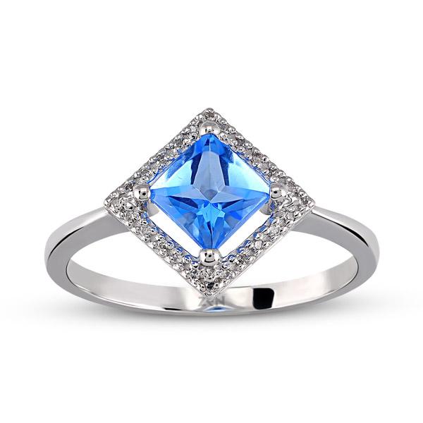 0.74 ct Blue Topaz Diamond Ring