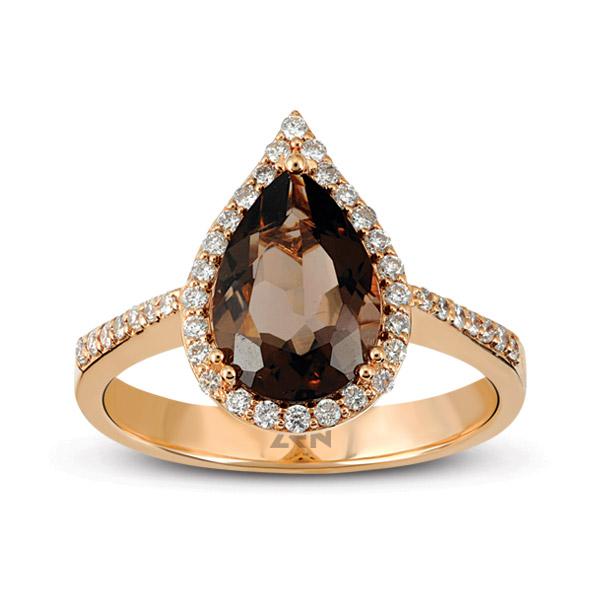 Smoky Quartz Diamond Ring