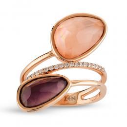 Amethyst - Quartz Diamond Ring