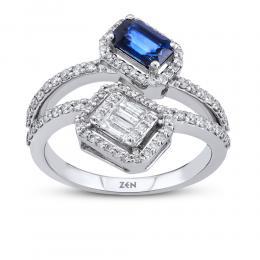 Sapphire Baguette Diamond Ring