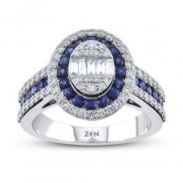 Baguette Diamond Sapphire Ring